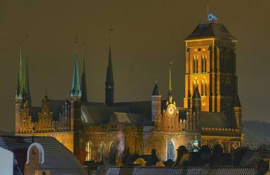 Kościół Mariacki w nocnej oprawie. Fot. Geir Jartveit
