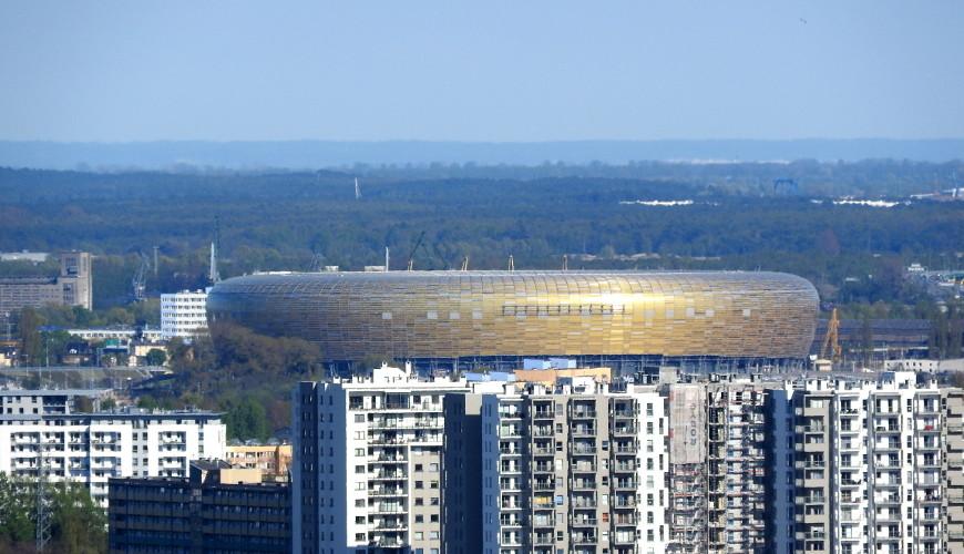 Widok z Pachołka. Stadion Energa Gdańsk. Widok powiększony.