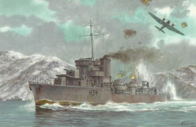 ORP Błyskawica w kampanii norweskiej. Źródło: Muzeum Marynarki Wojennej