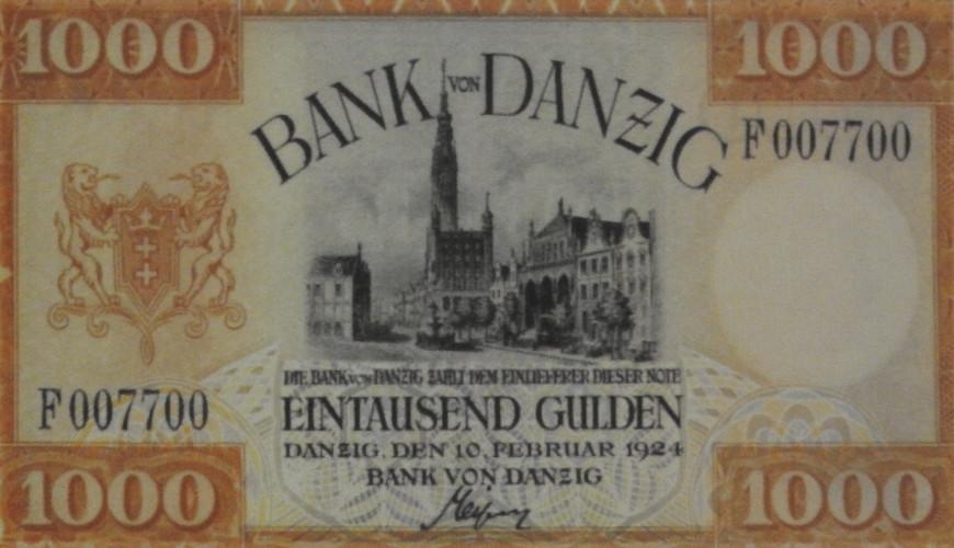 W Wolnym Mieście Gdańsku obowiązywała osobna waluta. Na zdjęciu tysiąc guldenów. Ze zbiorów Strefy Historycznej Wolnego Miasta Gdańska.
