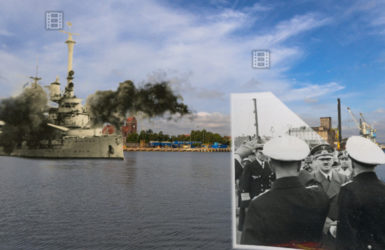 Pancernik Schleswig-Holstein ostrzeliwuje Westerplatte.