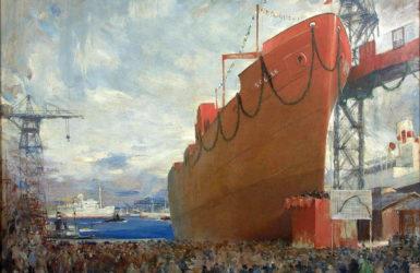Rudowęglowiec Sołdek w artystycznym wydaniu. Źródło: Narodowe Muzeum Morskie.
