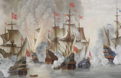 Artystyczne przedstawienie bitwy pod Oliwą.