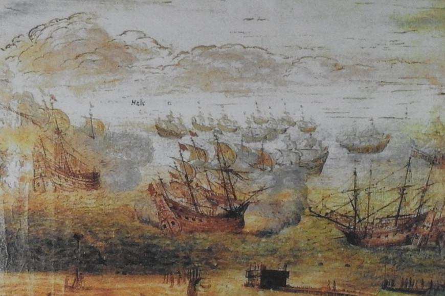 Bitwa morska pod Oliwą. Akwarela Adolfa Boya z 1633 roku.