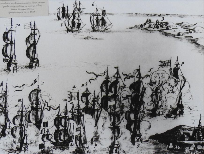 Reprodukcja sztychu Filipa Janssena z przedstawieniem bitwy pod Oliwą