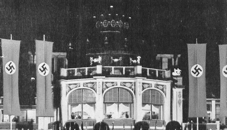 Ogród przez Domem Zdrojowym nocą (sierpień 1939 roku). Ilustracja pochodzi ze zbiorów Biblioteki Gdańskiej PAN.